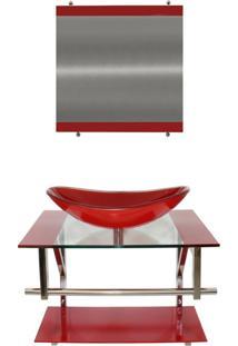 Gabinete Vidro Para Banheiro Sérvia Vermelho Ferrari Ekasa