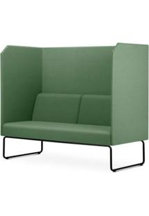 Sofa Privativo Pix Com Divisoria E Assento Crepe Verde Escuro Base Aco Preto - 55085 - Sun House