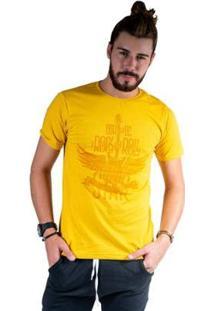 Camiseta Mister Fish Estampado Rock And Roll Masculina - Masculino-Mostarda