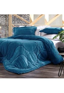 Edredom King Altenburg Blend Elegance Plush Cobogó- Azul