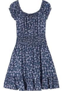 Vestido Azul Curto Floral