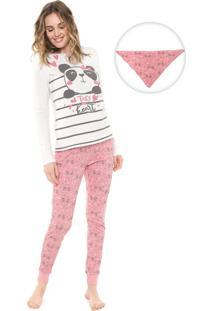 Pijama Malwee Liberta Panda Rosa/Off-White