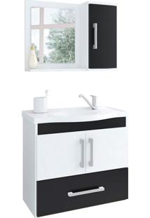 Conjunto De Banheiro Atenas Branco E Preto