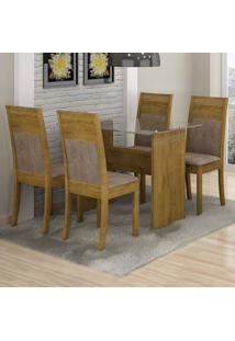 Conjunto De Mesa Com 4 Cadeiras Ravena Ii Suede Ypê E Marrom Claro