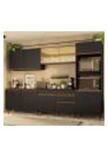Cozinha Completa Madesa Reims 310001 Com Armário E Balcão - Preto/Rustic