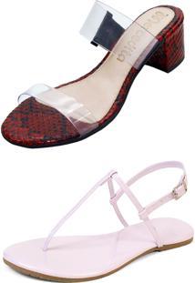 Kit Sandália Tamanco Salto E Rasteira Mercedita Shoes Cristal Com Cobra Vermelho E Verniz Rosa San - Kanui