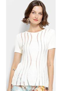Blusa Texturizada Lança Perfume Com Tule Feminina - Feminino-Off White