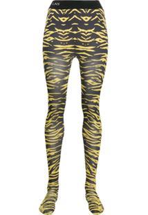 Laneus Meia Calça Com Animal Print - Amarelo
