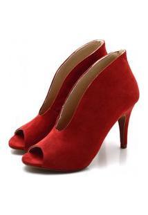 Sapato Feminino Scarpin Abotinado Salto Alto Fino Em Camurça Vermelha