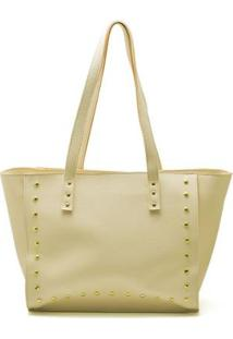 Bolsa Shopper D&R Shoes Tachas Feminina - Feminino-Amarelo Claro