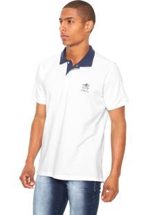 Camisa Polo Monte Carlo Polo Club Bicolor Branca/Azul-Marinho