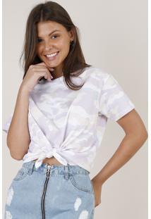 Blusa Feminina Cropped Ampla Estampada Camuflada Com Nó Manga Curta Decote Redondo Off White