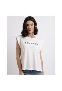 """Blusa Feminina Friends"""" Com Ombreiras Decote Redondo Branca"""""""