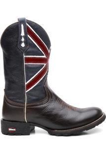 Bota Texana Com Cafe Escuro Bandeira Da Inglaterra Bico Redondo - Masculino-Marrom+Marinho