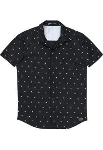 Camisa Masculina Regular Em Algodão