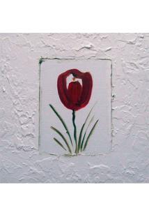 Quadro Artesanal Com Textura Tulipa Vermelho 30X30Cm Uniart