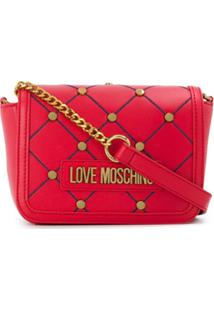Love Moschino Studded Logo Cross Body Bag - Vermelho