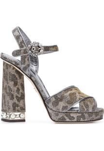 Dolce & Gabbana Sandália De Salto Com Plataforma Em Couro - Cinza