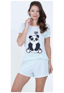 Pijama Feminino Short Doll Estampa Panda Marisa