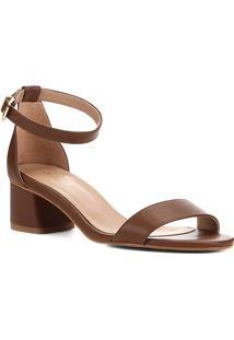 Sandália Shoestock Salto Médio Naked Feminina - Feminino-Avelã