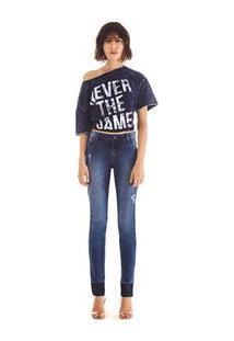 Calca Slim Isabelli Cos Intermediario Com Termocolante Jeans