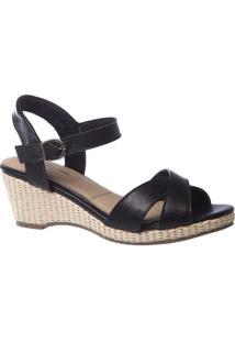 Sandália Couro Anabela 613 Doctor Shoes Feminina - Feminino-Preto