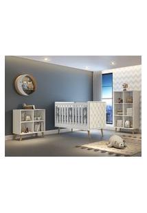 Dormitório Valentina Comoda Montessoriana Guarda Roupa Berço Lorena C/ Capitone Carolina Baby Branco