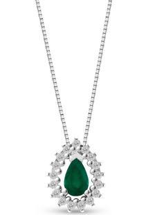 Pingente Gota Ouro Branco Esmeralda E Diamantes