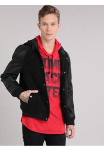 Jaqueta Masculina Com Capuz Bolsos Preta