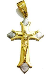Pingente Prata Mil Cruz C/ Cristo Folheado Em Ouro Dourado