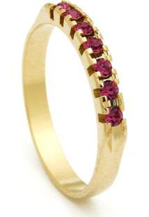Meia Aliança Horus Import Banhada Ouro Amarelo Pedras Rosa