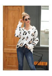 Casaco Feminino Dairomont Leopardo Com Franjas - Branco