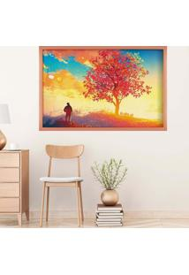 Quadro Love Decor Com Moldura Beautiful Rose Metalizado Grande