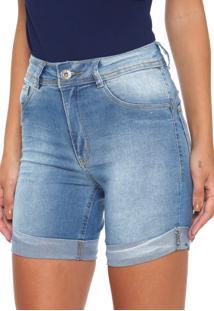 Bermuda Jeans Biotipo Reta Barra Italiana Azul
