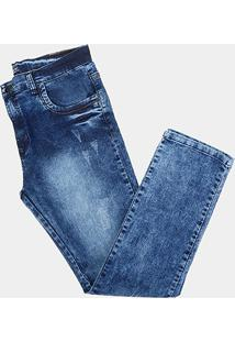 Calça Tbt Jeans Destroyed Used Plus Size Masculina - Masculino-Azul