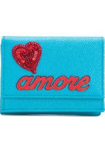 Dolce & Gabbana Carteira 'Amore' De Couro Com Aplicação - Azul