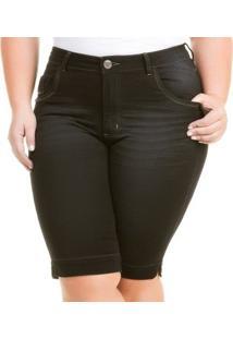 Bermuda Confidencial Extra Plus Size Jeans Com Elastano Feminino - Feminino-Preto