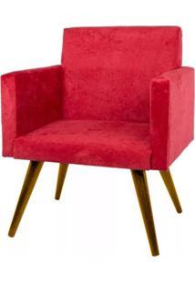 Poltrona Decorativa Pés Palito Nina Suede Vermelho Liso - Ds Móveis