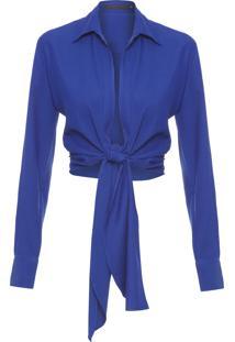 Camisa Feminina Cropped Torção - Azul