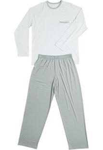 Conj. Pijama Modal Manga Longa Cinza Claro P