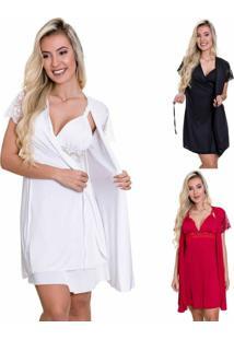 Kit 3 Camisolas Amamentaã§Ã£O Com Robe Estilo Sedutor 1 Branca 1 Vermelha 1 Preta - Es206-207-Kit3-V1 - Branco/Multicolorido - Feminino - Dafiti
