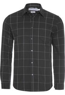 Camisa Masculina Quadros Flanela - Preto