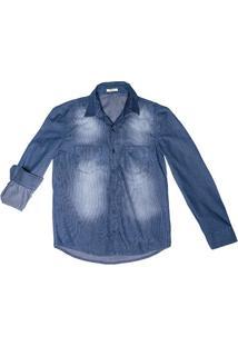 Camisa Jeans Masculina Com Lavação Azul Escura