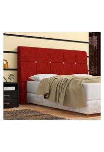 Cabeceira Pietra Casal Super King 195 Cm Com Baú Interno Suede Amassado Vermelho - Ds Móveis
