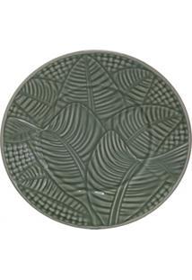 Prato De Sobremesa Em Cerâmica Leaves 20Cm Verde