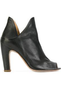 Officine Creative Ankle Boot De Couro Com Abertura Frontal - Preto