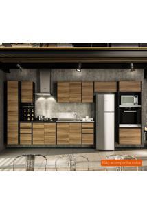 Cozinha Compacta Mali 12 Pt 7 Gv Nogal E Preta