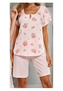 Pijama Curto Floral Manga Japonesa Paulienne Classic (9219-0) 100% Algodão