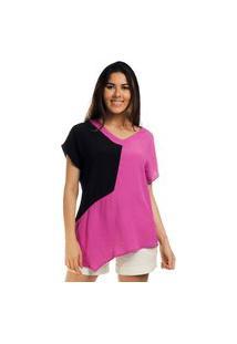 Blusa Assimétrica Viscose Bicolor Pink & Preto