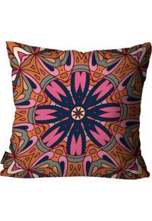 Capa Para Almofada Premium Peluciada Mdecore Mandala Colorido 45X45Cm Rosa